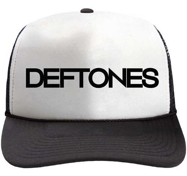 Deftones- Logo on a white/black trucker hat