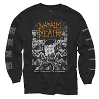 Napalm Death- From Enslavement To Obilteration on front, Logos on sleeve on a black LONG SLEEVE shirt