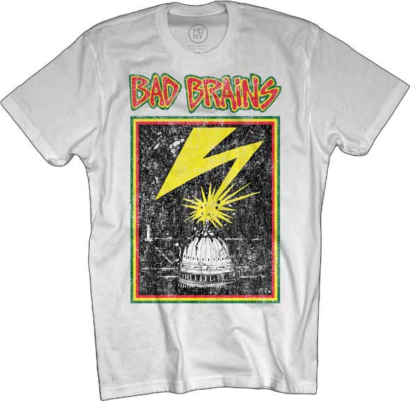 Bad Brains- Distressed Lightning on a white ringspun cotton shirt