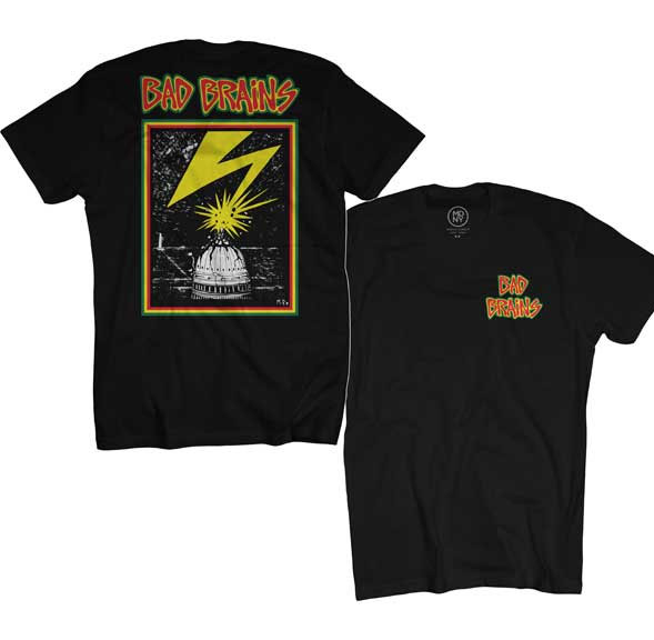 Bad Brains- Small Logo on front, Lightning on back on a black shirt