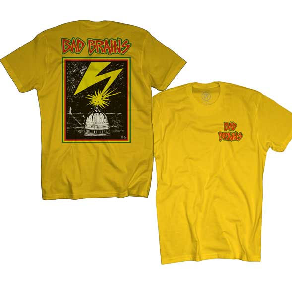 Bad Brains- Small Logo on front, Lightning on back on a yellow shirt