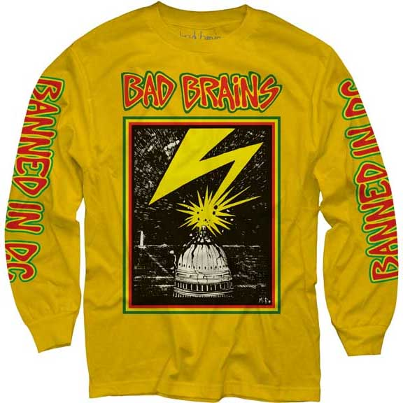 Bad Brains- Lightning on front, Banned In DC on sleeves on a yellow LONG SLEEVE shirt