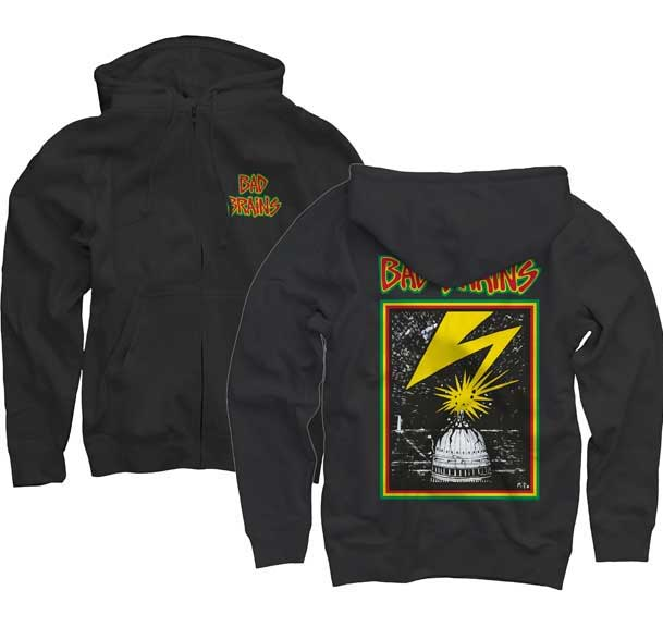 Bad Brains- Logo on front, Lightning on back on a black zip up hooded sweatshirt