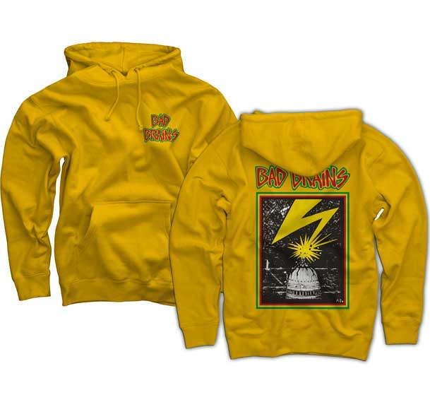 Bad Brains- Logo on front, Lightning on back on a yellow hooded sweatshirt