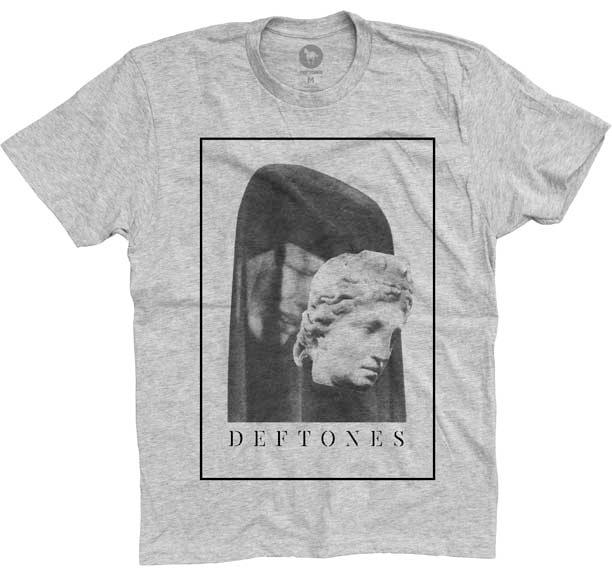 Deftones- Mask on a heather grey ringspun cotton shirt
