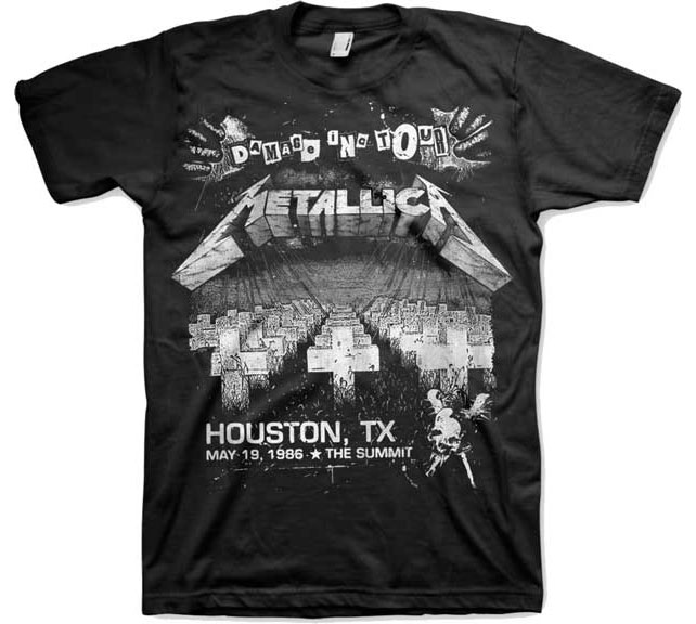 Metallica- Damage Inc Tour (May 19, 1986 Houston) on a black ringspun cotton shirt (Sale price!)
