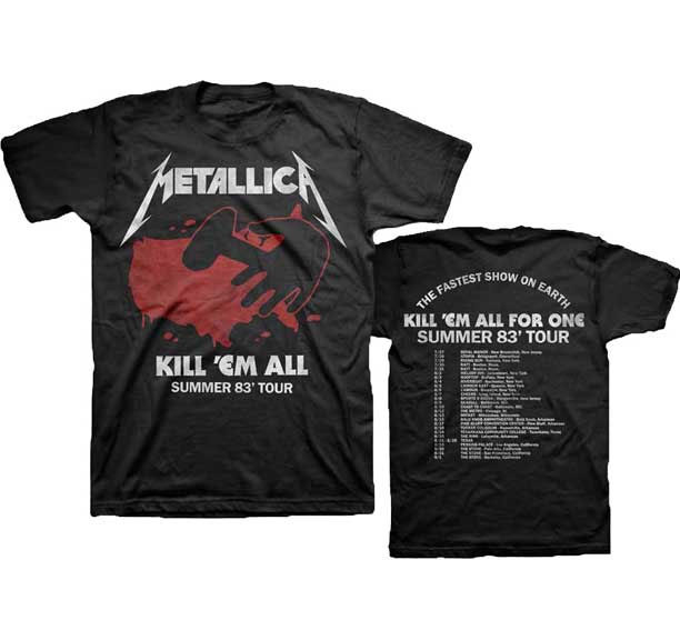 Metallica- Kill 'Em All Tour '83 on front, Dates on back on a black shirt