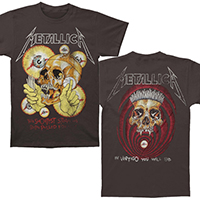 Metallica- Shortest Straw on front, Vertigo Skull on back on a charcoal ringspun cotton shirt