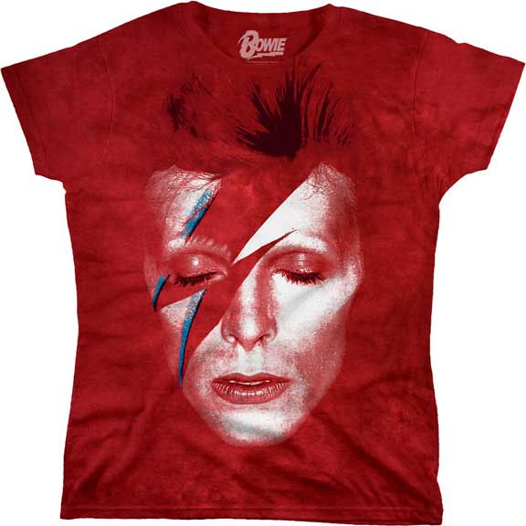 David Bowie- Alladin Sane on a red tie dye girls shirt