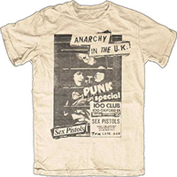 Sex Pistols- 100 Club Flyer on a natural ringspun cotton shirt