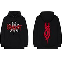 Slipknot- Logo on front, Symbol on back on a black hooded sweatshirt