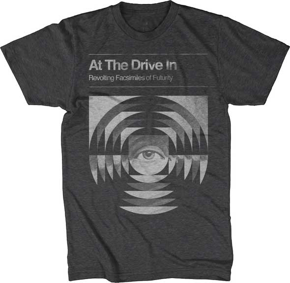 At The Drive In- Revolting Facsimiles on a heather charcoal ringspun cotton shirt