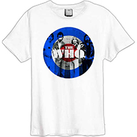 Who- Band Pic In Mod Logo on a white ringspun cotton shirt