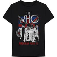 Who- American Tour 76 on a black ringspun cotton shirt