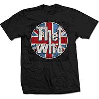 Who- Distressed Union Jack on a black ringspun cotton shirt