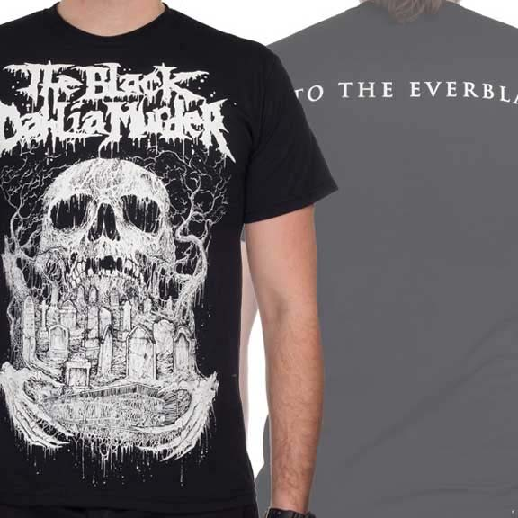 Black Dahlia Murder- Skull & Graves on front, Into The Everblack on back on a black shirt