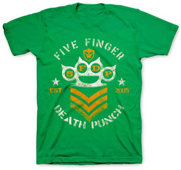 Five Finger Death Punch- Brass Knuckles on a green shirt (Sale price!)