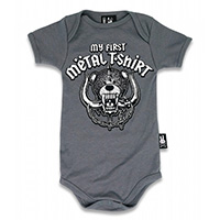 My First Metal Shirt Onesie by Six Bunnies (S:0-3m, M:3-6m, L:6-12m, XL:12-18m)  - in gray