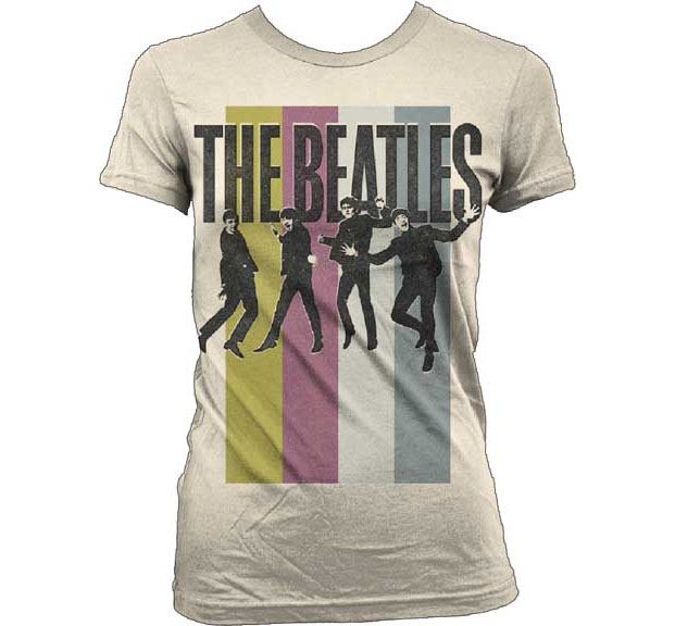 Beatles- Band Pic And Stripes on a natural girls fitted shirt