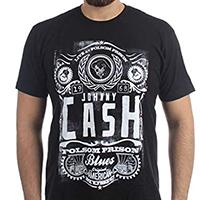 Johnny Cash- Folsom Prison Blues on a black ringspun cotton shirt