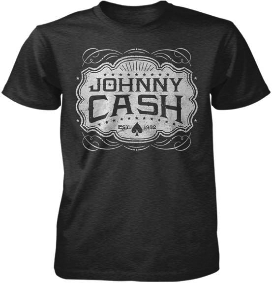 Johnny Cash- Est 1932 on a charcoal heather ringspun cotton shirt