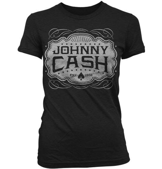 Johnny Cash- Est 1932 on a charcoal heather girls fitted shirt