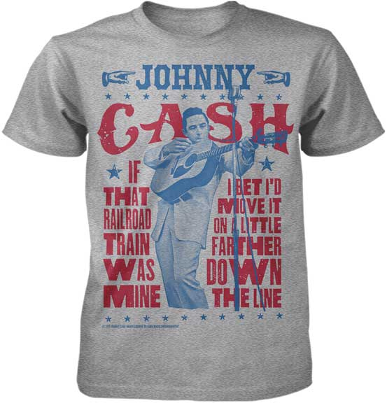 Johnny Cash- If That Railroad Train Was Mine on a heather grey ringspun cotton shirt