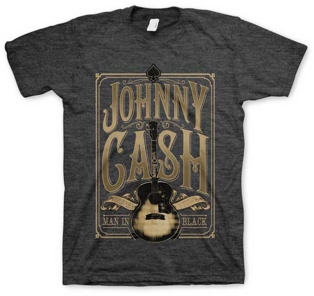 Johnny Cash- Man In Black (Signature Guitar) on a charcoal ringspun cotton shirt