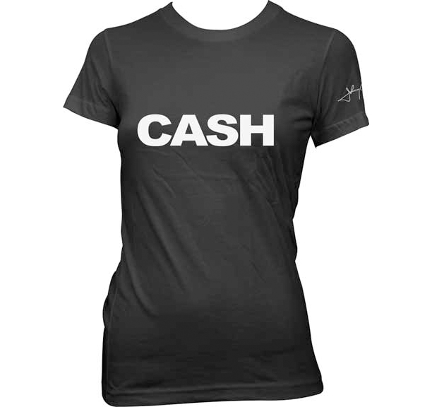 Johnny Cash- Logo on front, Signature on sleeve on a black girls fitted shirt