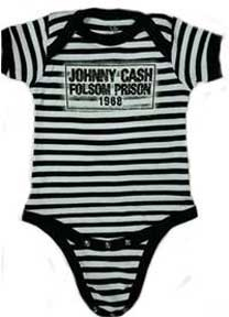 Johnny Cash- Folsom Prison on a striped onesie