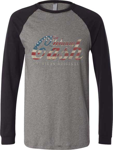 Johnny Cash- American Original on a grey/black long sleeve shirt