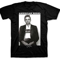 Johnny Cash- American Rebel on a black shirt