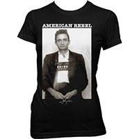 Johnny Cash- American Rebel (Mugshot) on a black girls fitted shirt