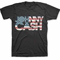 Johnny Cash- Flag Logo on a black shirt
