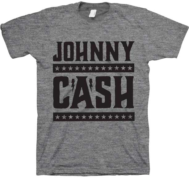 Johnny Cash- Logo With Stars on a heather grey ringspun cotton shirt