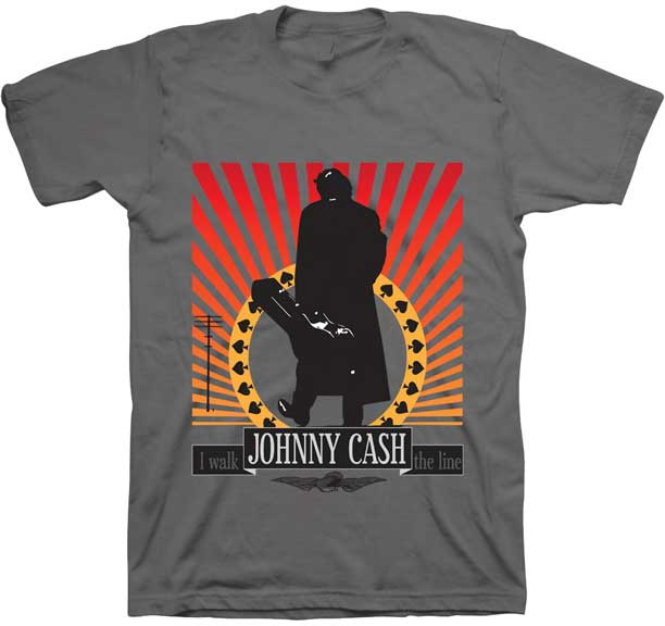 Johnny Cash- I Walk The Line on a grey shirt