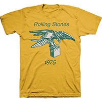 Rolling Stones- 1975 Eagle & Amp on a yellow ringspun cotton shirt