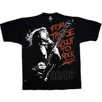 AC/DC- For Those About To Rock (Angus) on front, We Salute You on back on a black shirt