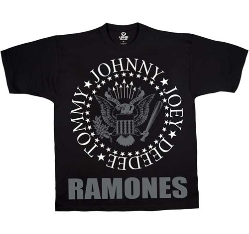 Ramones- Presidential Seal With Grey Logo Underneath (Large print) on a black shirt