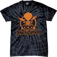 Black Sabbath- 666 on a black tie dye shirt