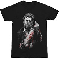 Texas Chainsaw Massacre- Leatherface Finger on a black shirt