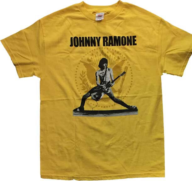 Johnny Ramone- Live Pic With Seal on a yellow shirt