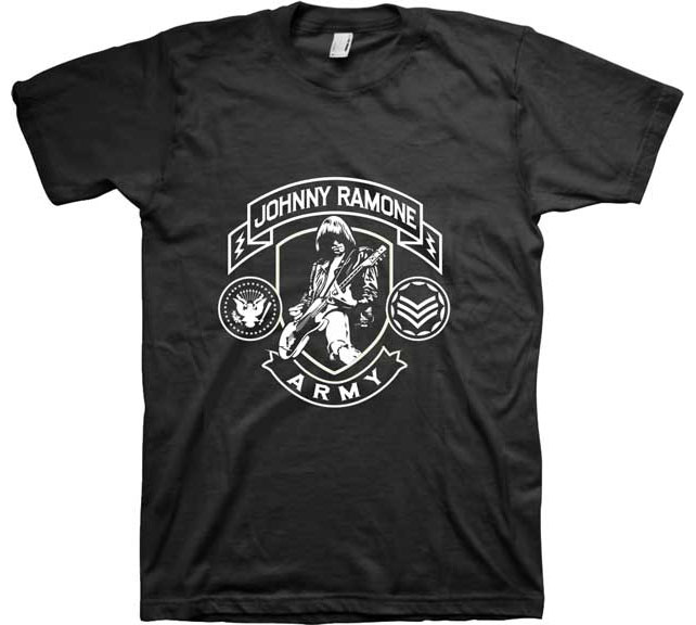 Johnny Ramone- Army on a black ringspun cotton shirt