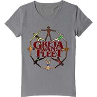 Greta Van Fleet- World Peace on a grey girls fitted shirt