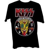 Kiss- Hotter Than Hell (Tongue And Band Pics) on a black shirt