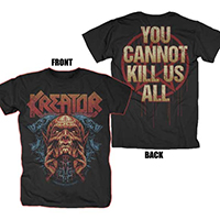 Kreator- Demon on front, You Cannot Kill Us All on back on a black shirt