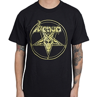 Venom- Welcome To Hell (Gold Pentagram) on a black shirt