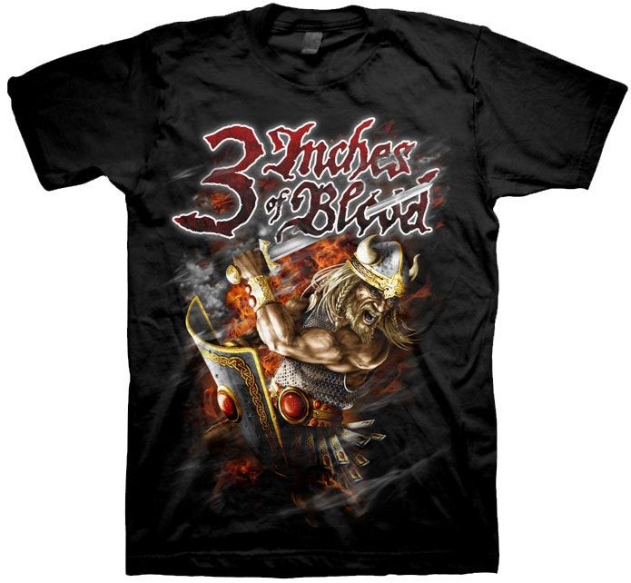 3 Inches Of Blood- Viking on a black shirt (Sale price!)