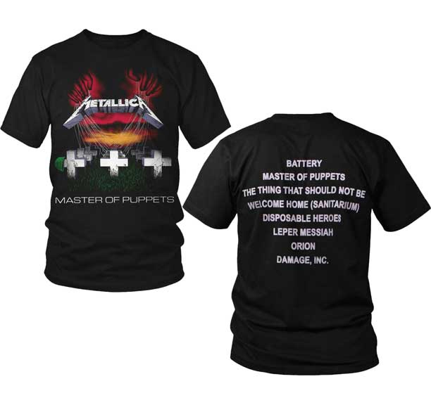 Metallica- Master Of Puppets on front, Songs on back on a black shirt