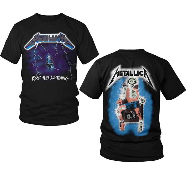 Metallica- Ride The Lightning on front, Electric Chair on back on a black shirt
